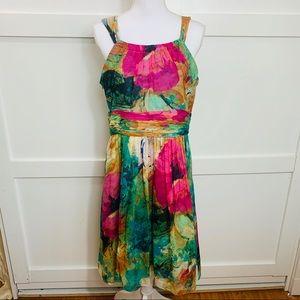 Scoop neck silk dress